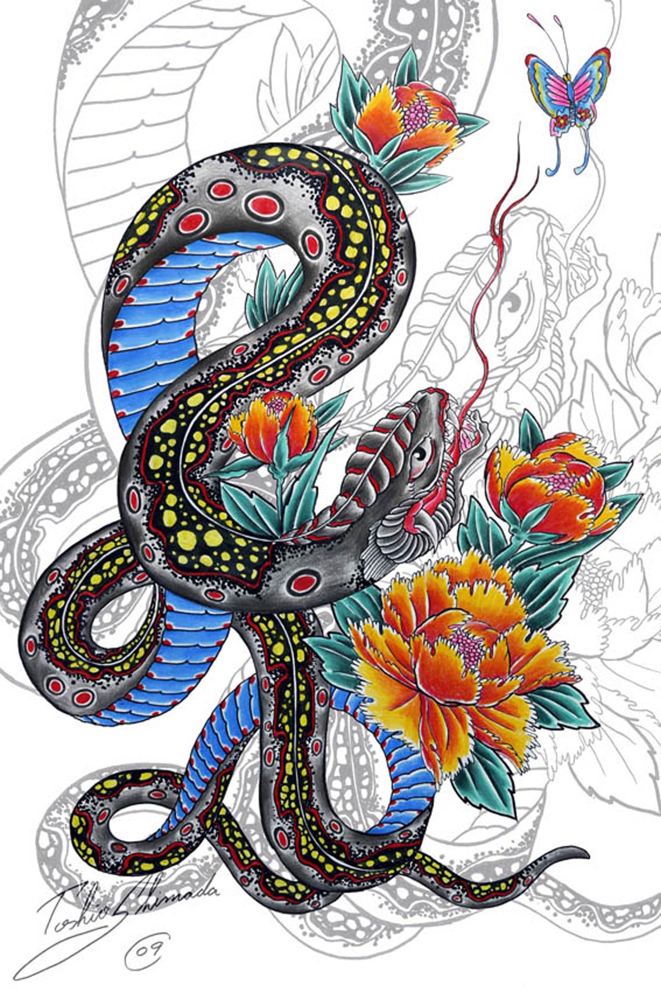 Snake and peony