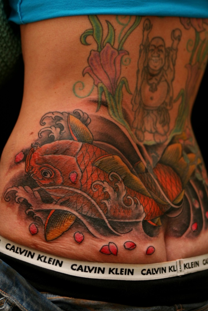 koi fish and waves